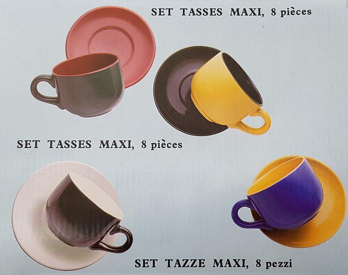 4 Tassen gross mit Unterteller