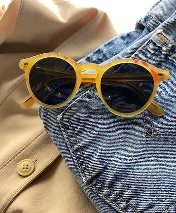 Vintage Bakelight Portofino Golden Orange Rounded Italian Looking Sunglasses