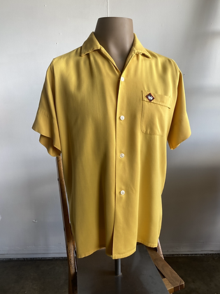 1950's Yellow COXIE'S Chainstitch Rayon Swingster Bowling Shirt M
