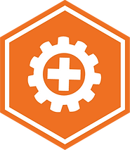 Safety Series badge, depicting a gear with a medical symbol in the middle