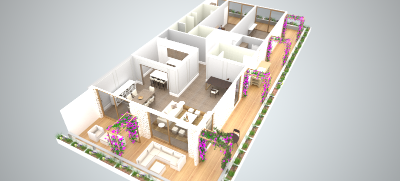 3D visual of typical apartment
