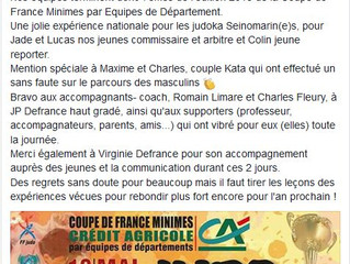 Maxime et Charles à la Coupe de France par équipe de département minime.
