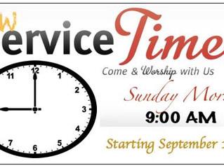 Worship Time Change