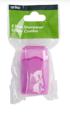 2 Hole Sharpener Eraser Combo - Pink