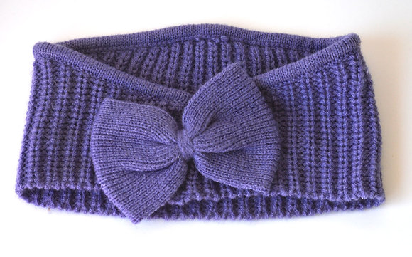 Purple Knitted Bow Headband