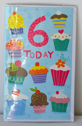 Cupcake 6 Today Birthday Card