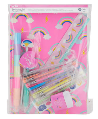 Neon Rainbow Stationery Set