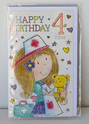 Bear Doctor 4th Birthday Card
