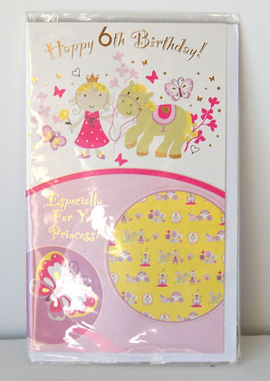 6th Birthday Princess Card