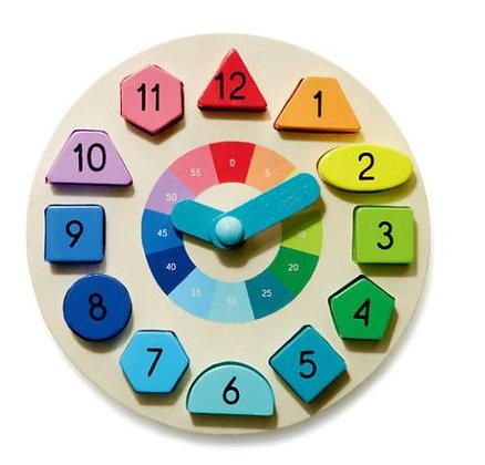 Wooden Clock & Puzzle