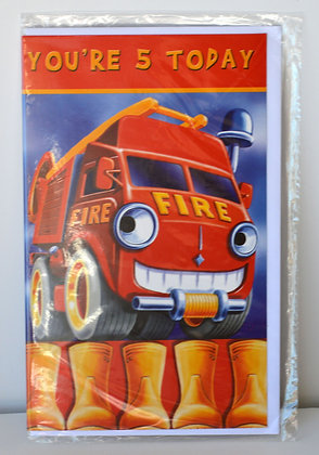 Firetruck 5 Today Birthday Card