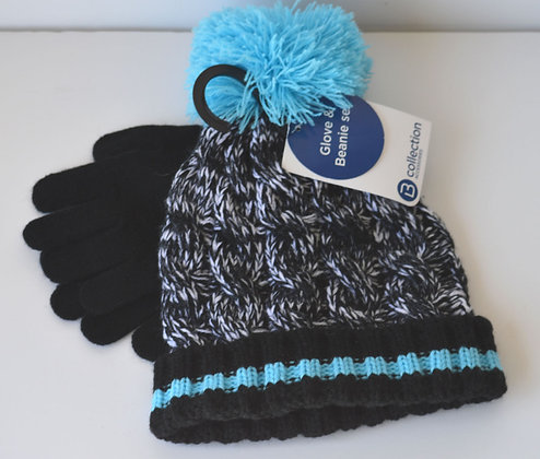 Glove & Beanie Set - Blue & Black