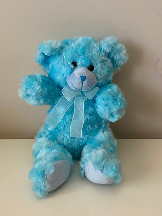 Blue Teddy with Ribbon