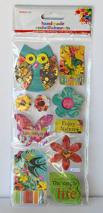 3D Owl, Flowers & Quote Stickers