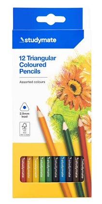 12 Triangular Coloured Pencils