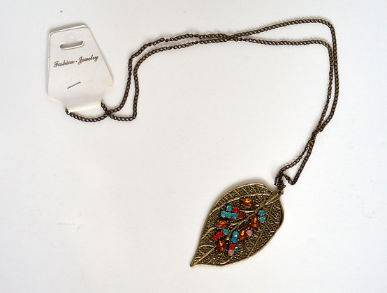 Jewelled Leaf Necklace