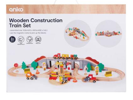 Wooden Construction Train Set