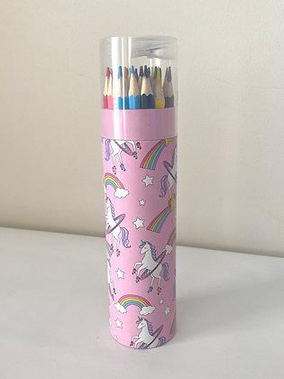 Unicorn Tin - 24 Coloured Pencils