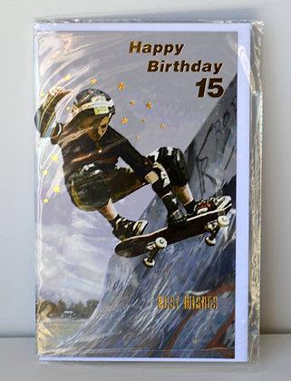 Skater 15th Birthday Card