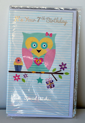 Owl 7th Birthday Card
