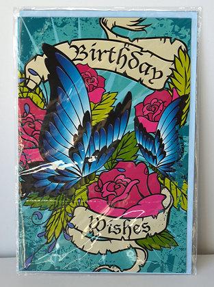 Blue Butterflies Birthday Card