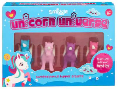 Smiggle Unicorn Scented Pencil Topper Erasers
