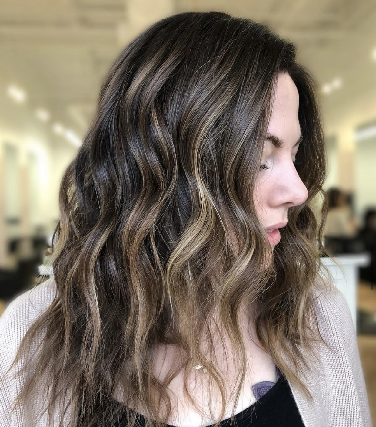 Caramel Drizzled Brunette + Base Color with Invisible Layers