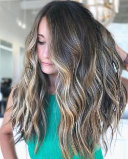 Sunlit Brunette + Long Layered Cut