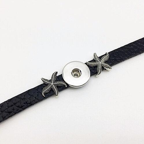 Black Leather Starfish Slide Bracelet