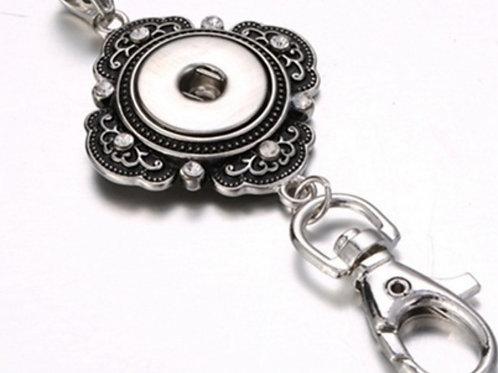 Rhinestone Badge Holder Necklace