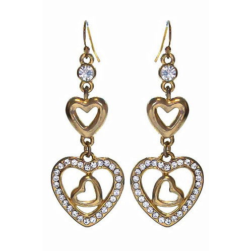 Heart Rhinestone Earrings