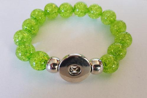 Lime Green Crackle Lg Beaded Bracelet