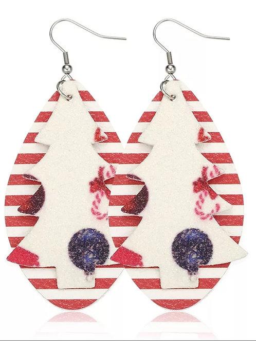 Red/White Stripe Tree Earrings