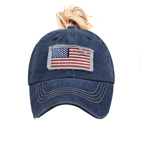 USA Flag Ponytail Baseball Cap