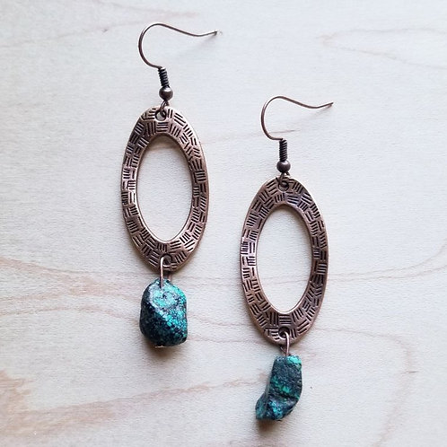 Hammered Copper Earrings with African Turquoise Bead