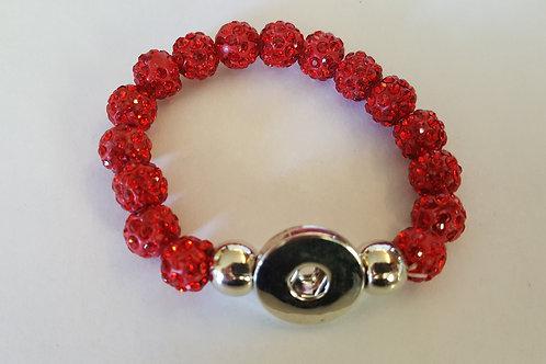 Red Rhinestone Beaded Bracelet