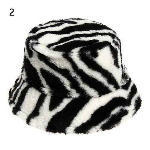 Zebra Faux Fur Bucket Hat