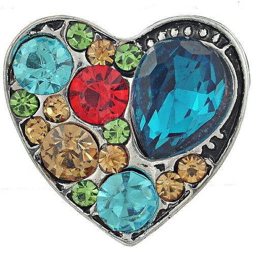 Multi Color Rhinestone Heart Snap