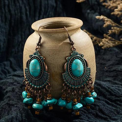 Copper Boho Tassel Earrings
