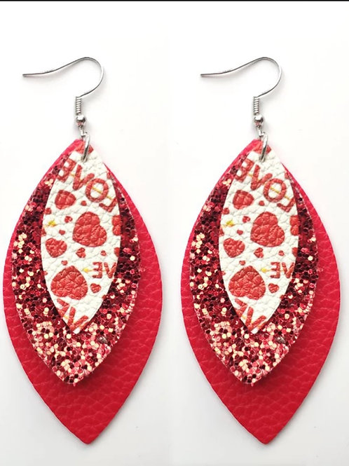 Red Love Glitter Earrings