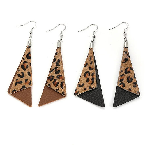 Leather Animal Print Earrings