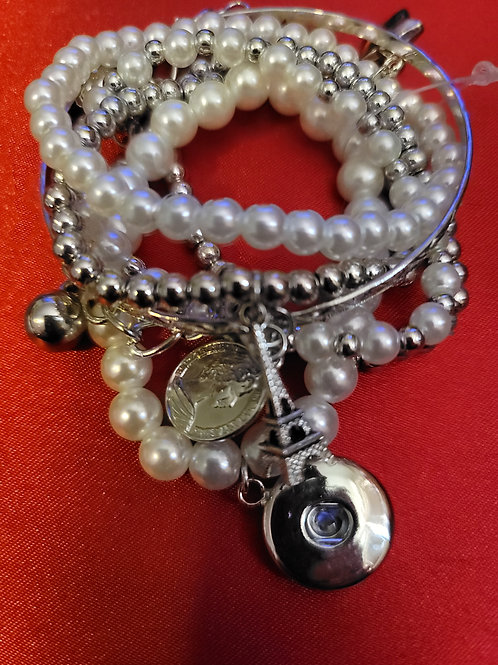 Silver/Pearl Beaded Bracelets