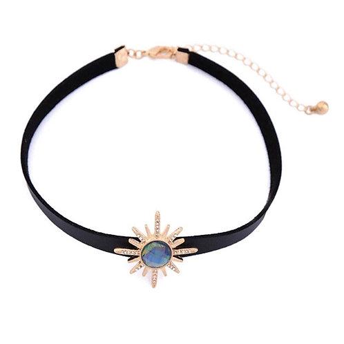 Rhinestone Sunflower Choker Necklace
