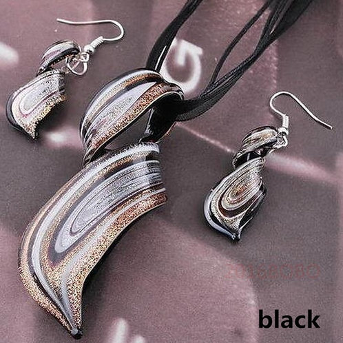 Black Murano Glass Earring & Necklace Set
