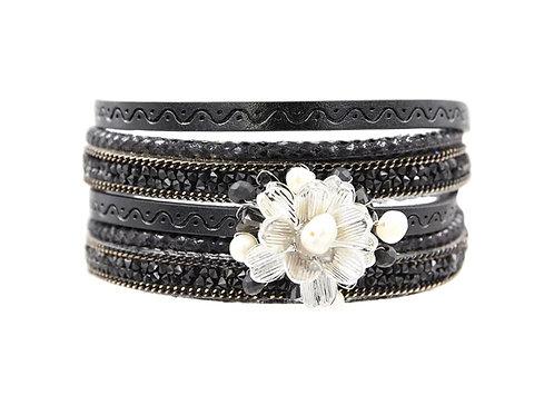 Black Floral Wrap Bracelet