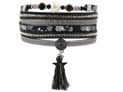 Black Rhinestone Wrap Bracelet