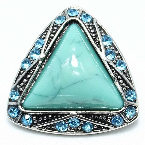 Turquoise & Rhinestone Triangle Snap