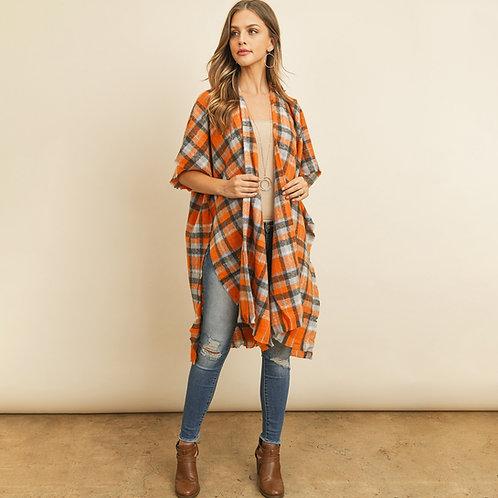 Orange Knee Length Tartan Plaid Kimono