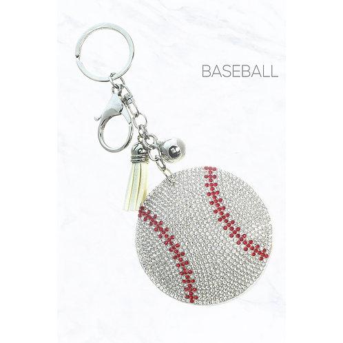 Glittering Baseball Keychain
