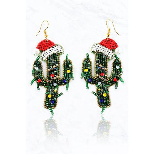 Beaded Cactus Santa Hat Earrings